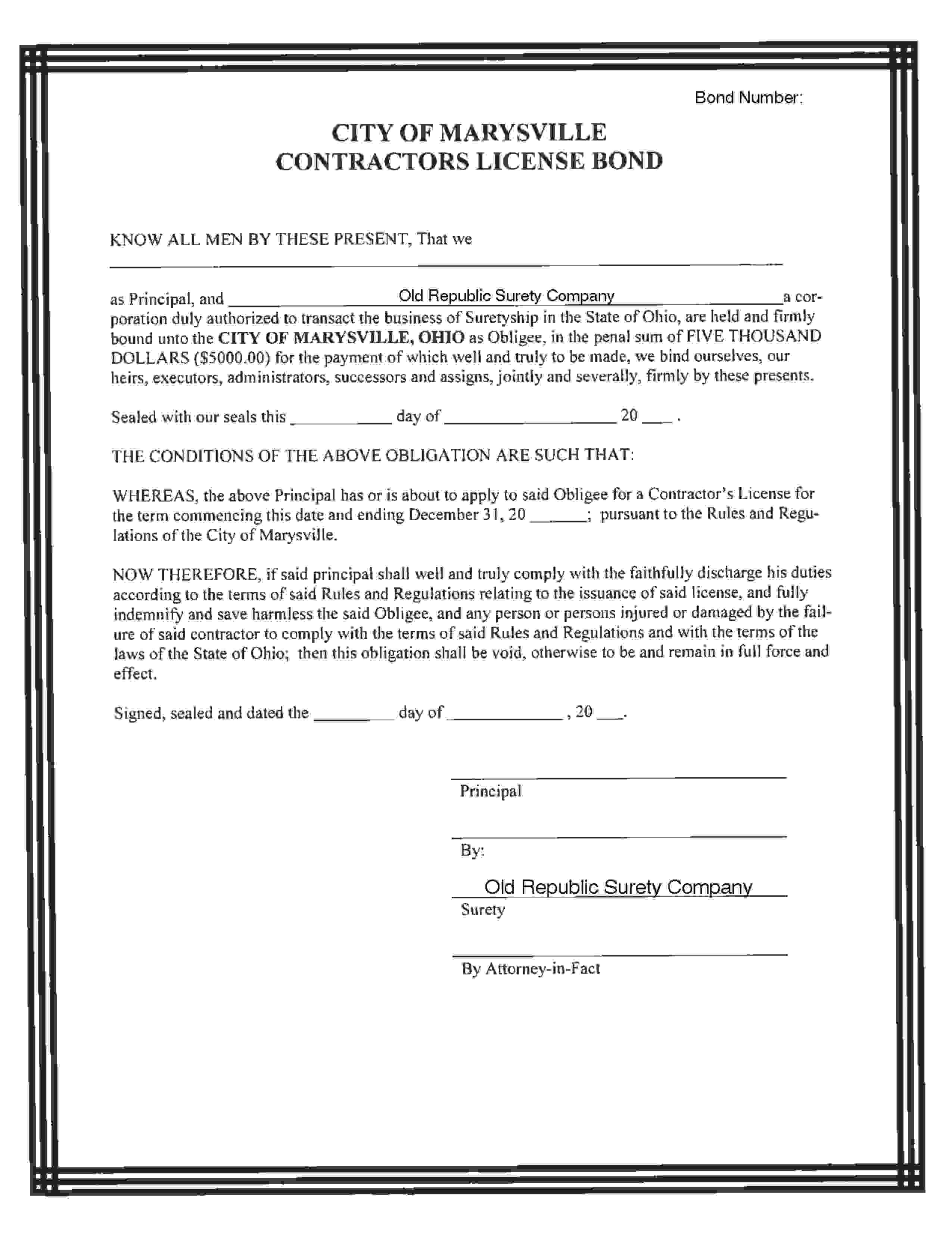 Marysville - City Contractor's License sample image
