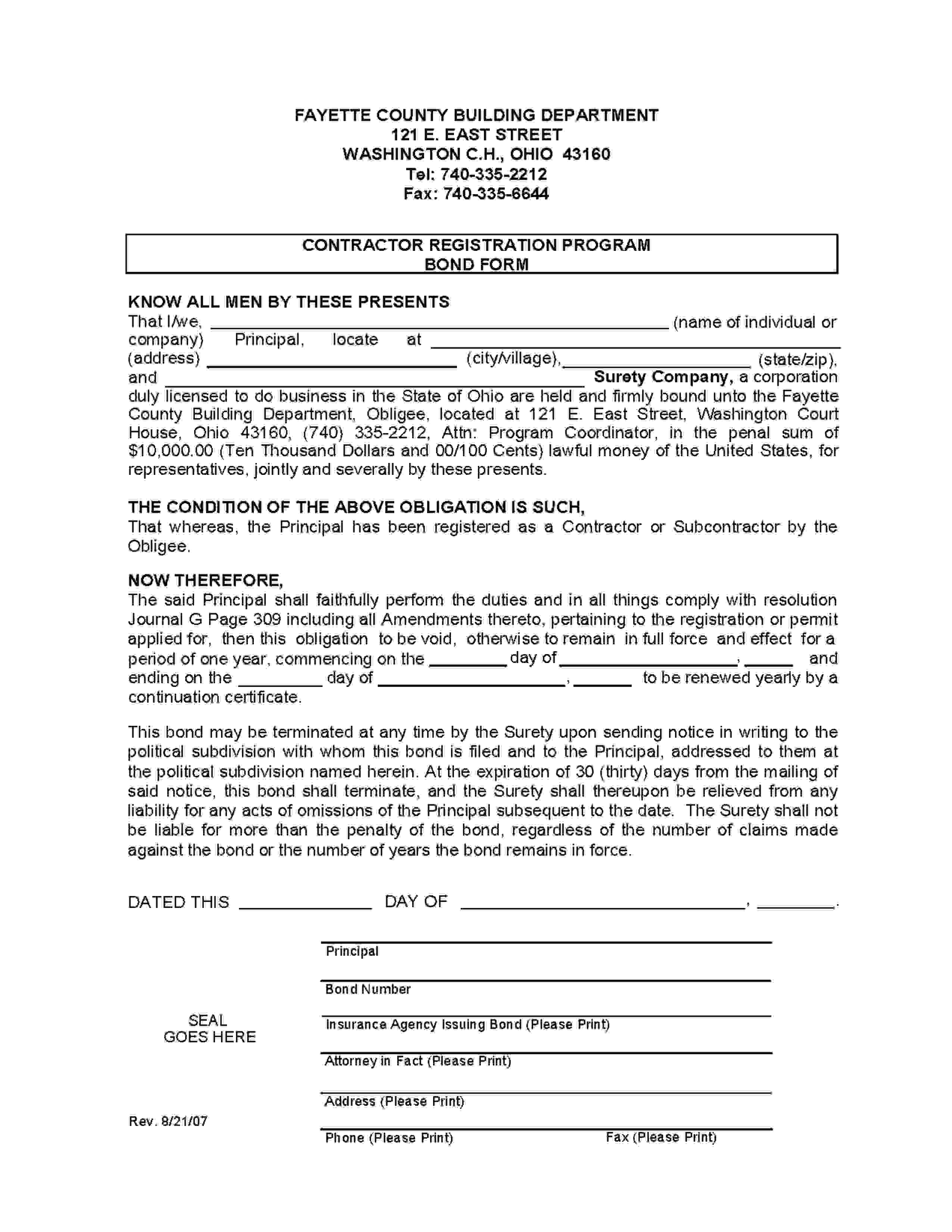Fayette - County Contractor Registration sample image