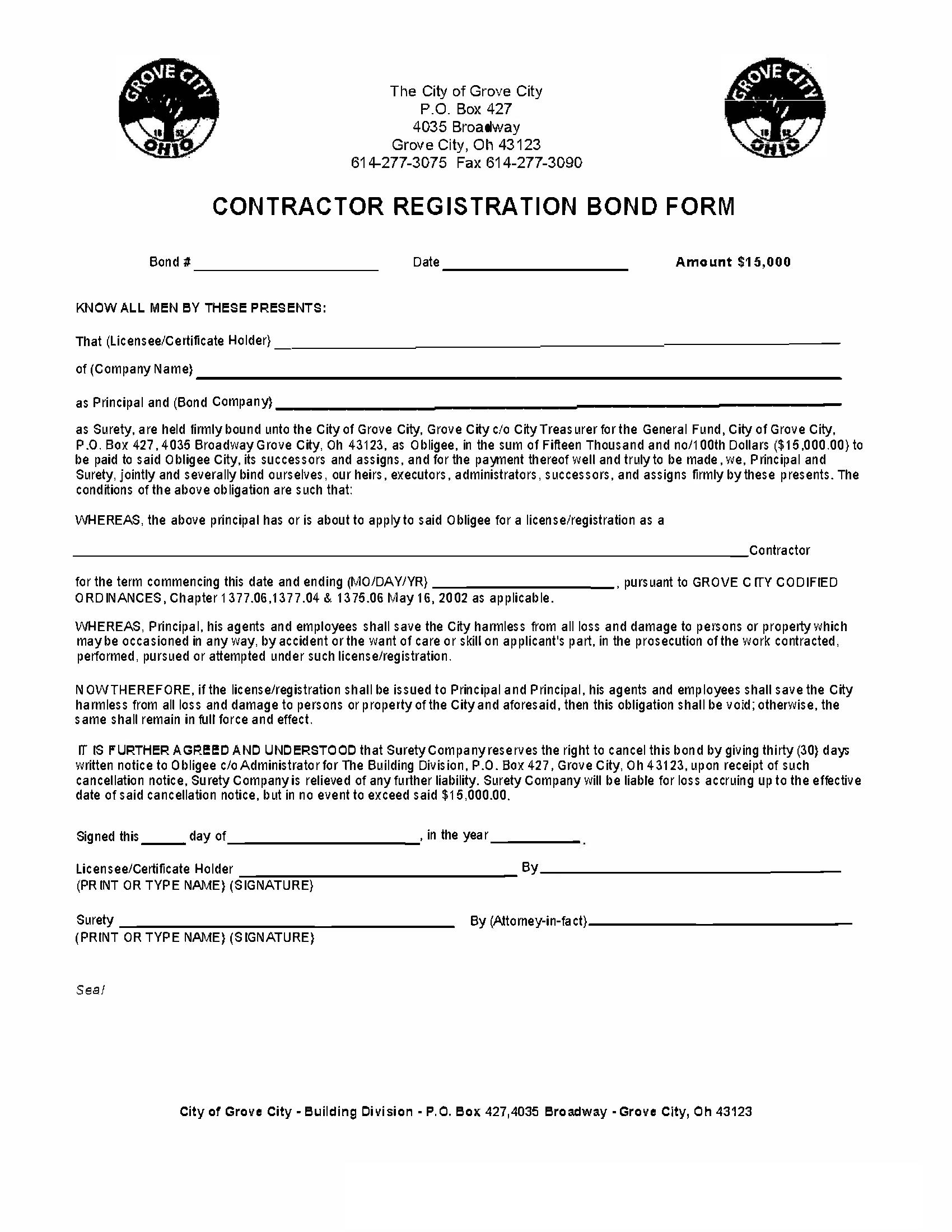 Grove City - City Contractor Registration sample image