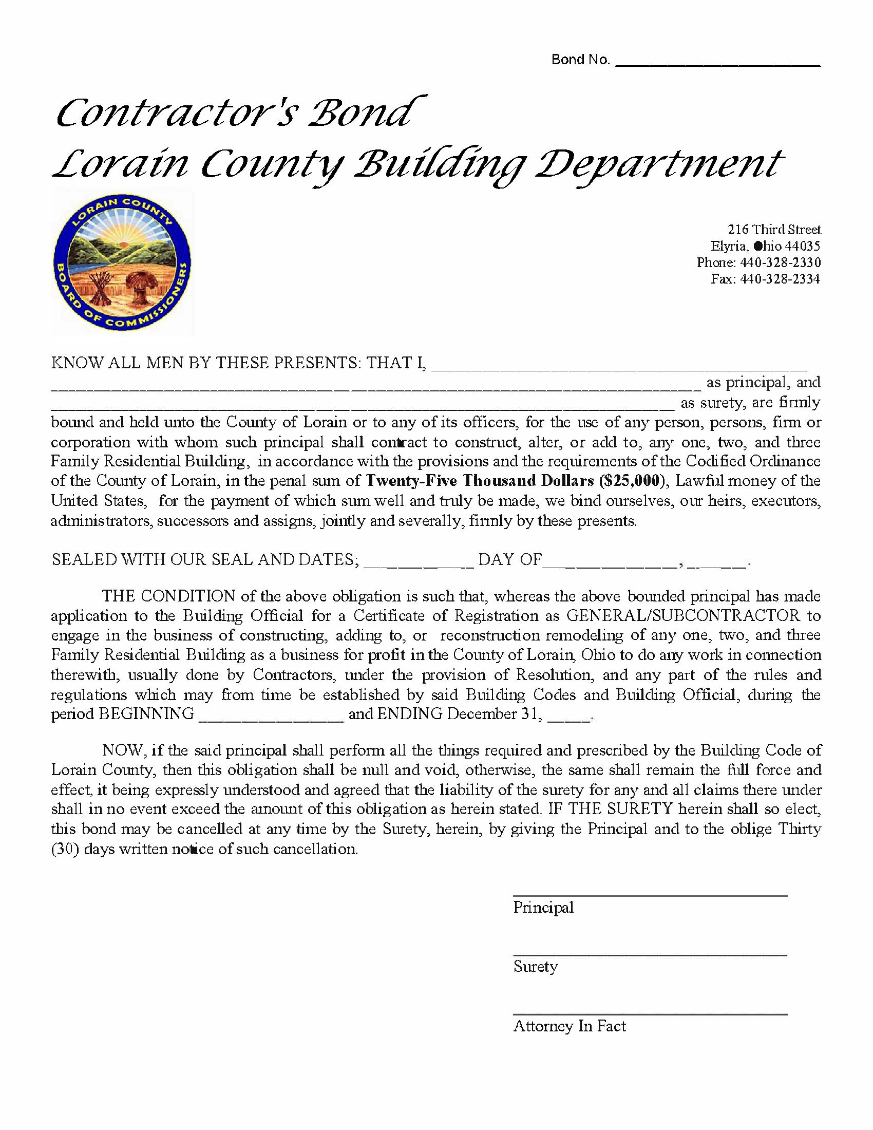 County of Lorain General / Subcontractor Registration sample image