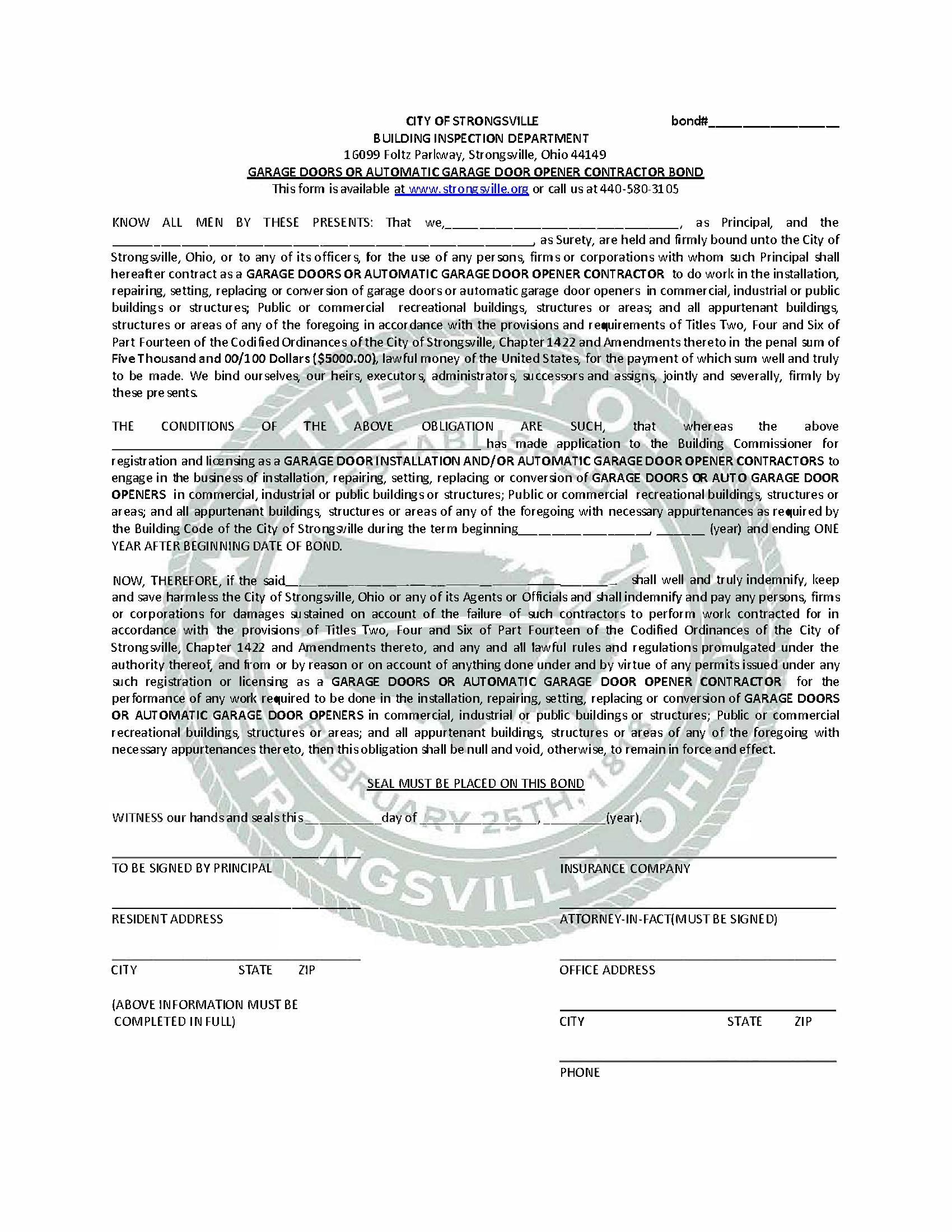 Strongsville - City Garage Doors or Automatic Garage Door Opener Contractor sample image