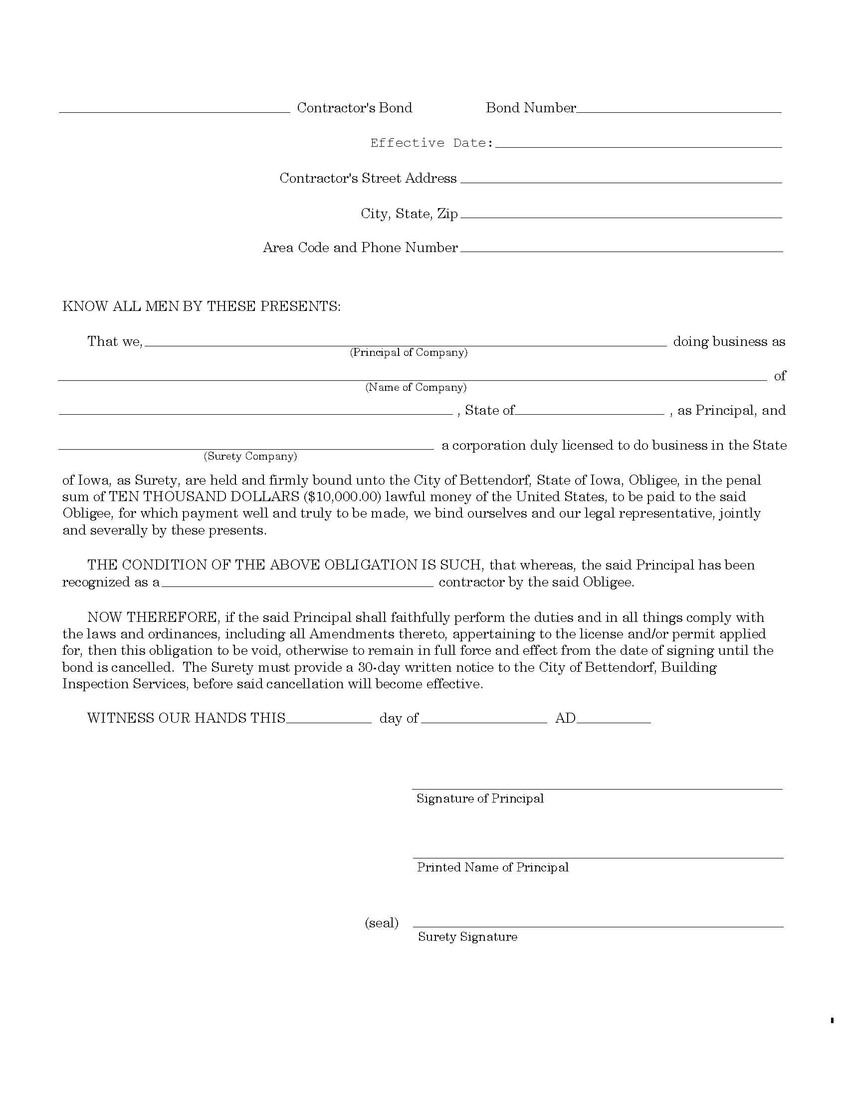 Marshall County Bettendorf - City License/Permit sample image