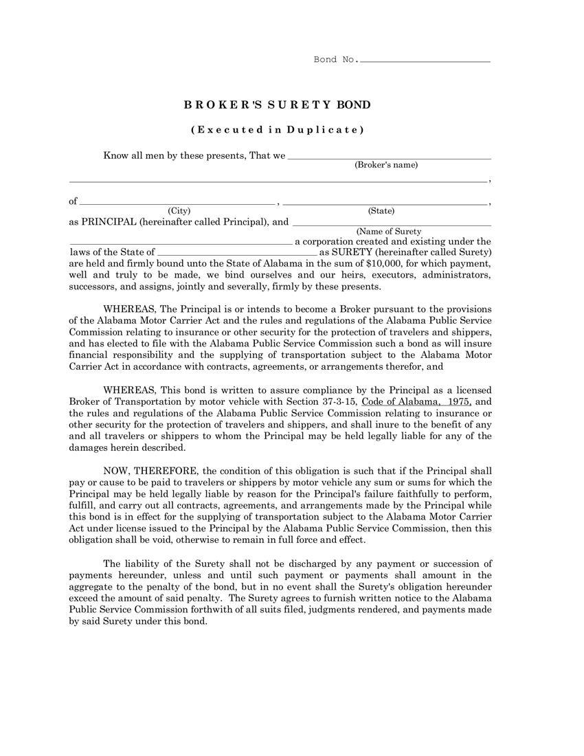 Alabama Motor Carrier Transportation Broker $10,000 Bond sample image