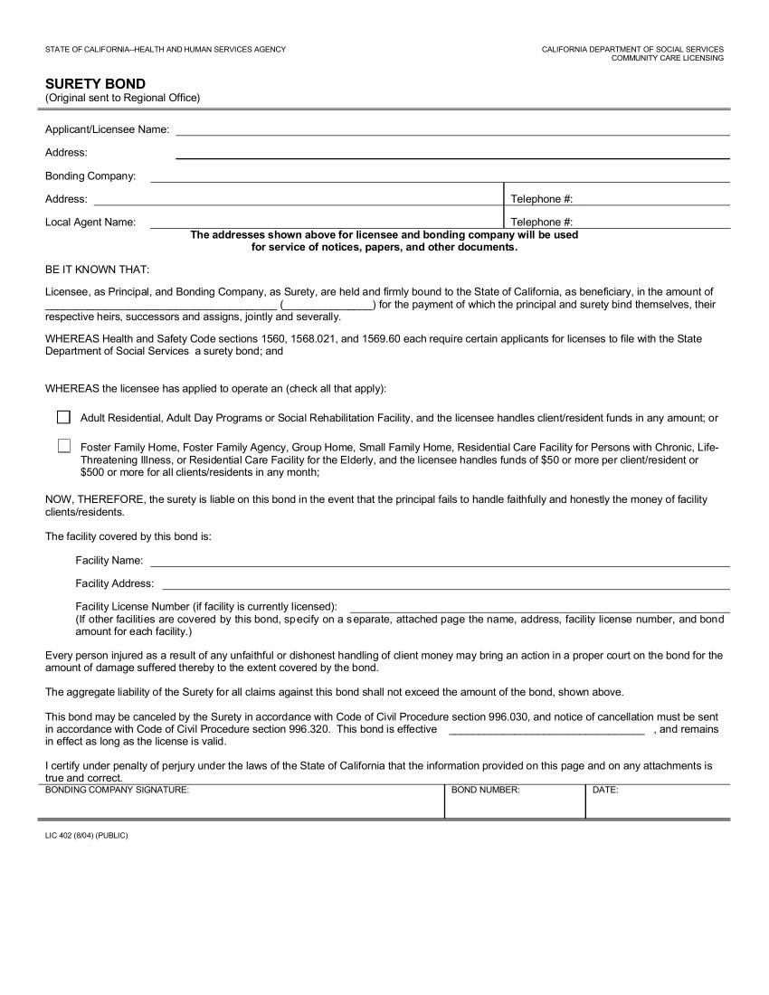 Community Care License Bond sample image