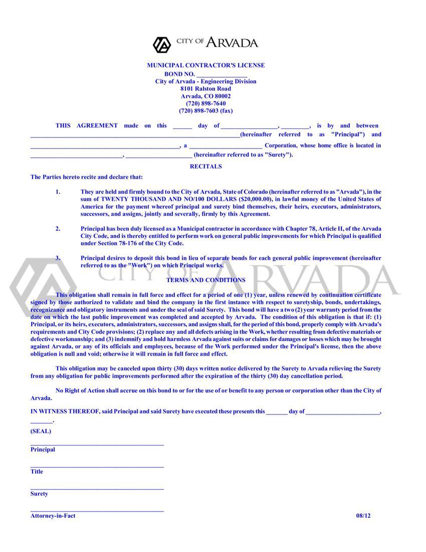 Arvada Municipal Contractor Bond sample image