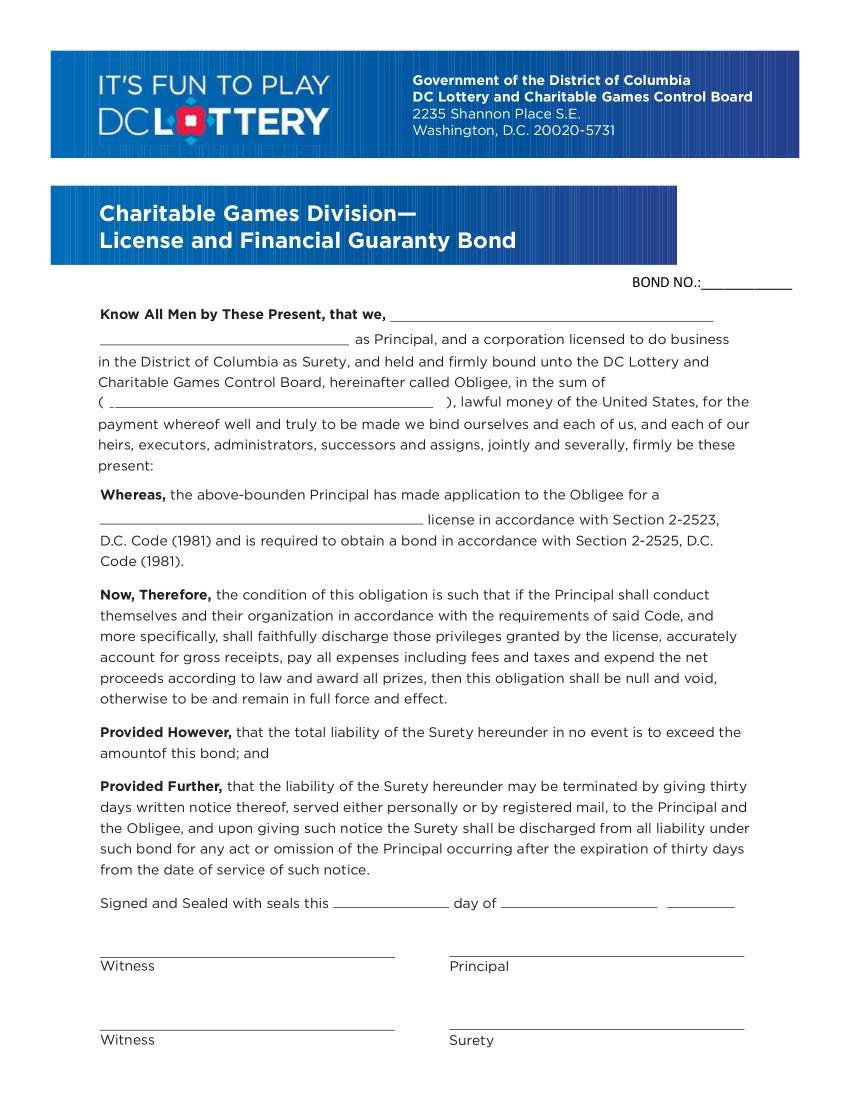 Charitable Games License and Financial Guaranty Bond sample image