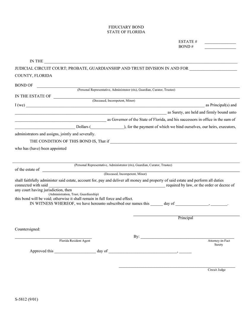 Administrator Executor Personal Representative $500,001 or greater Bond sample image