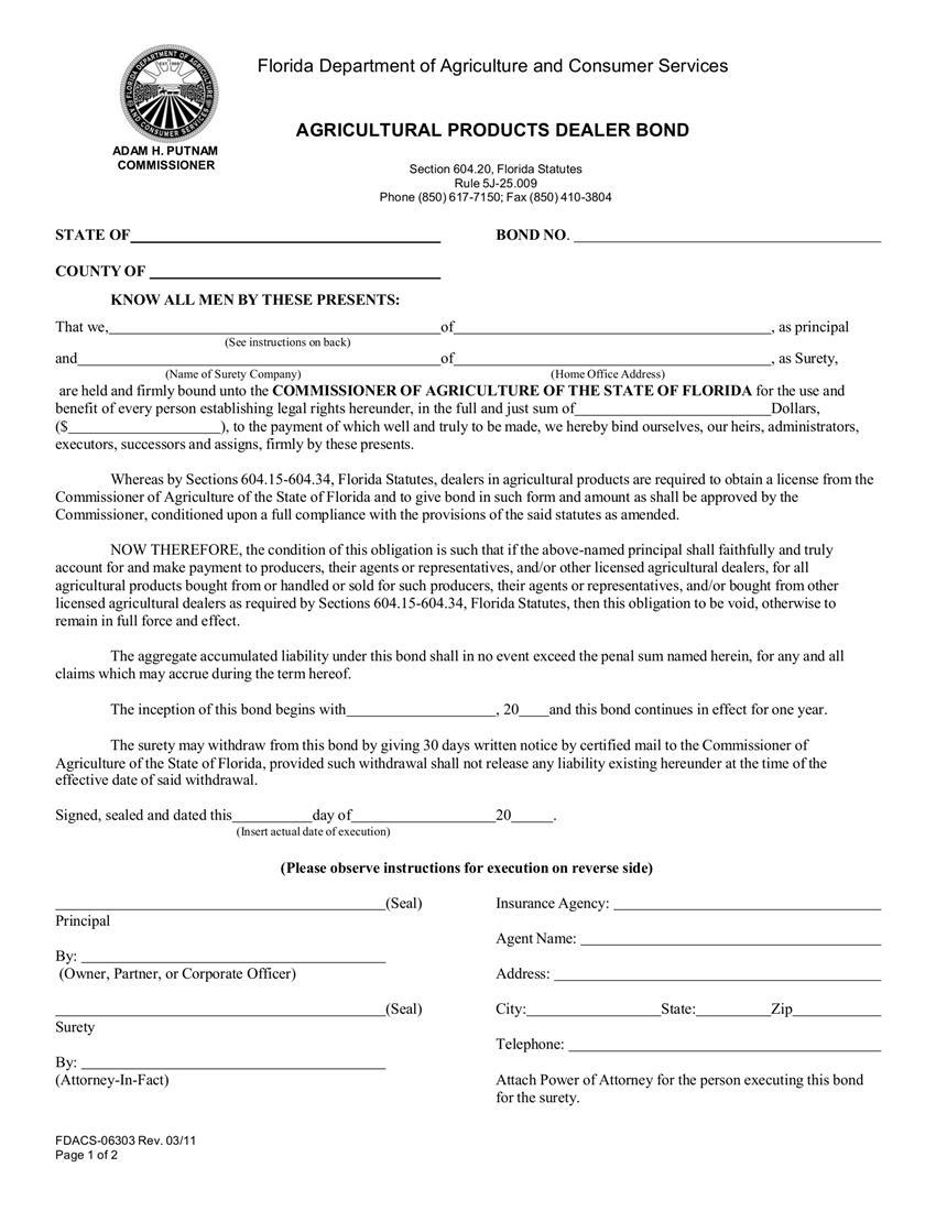Agricultural Dealers $1,000 to $100,000 Bond sample image