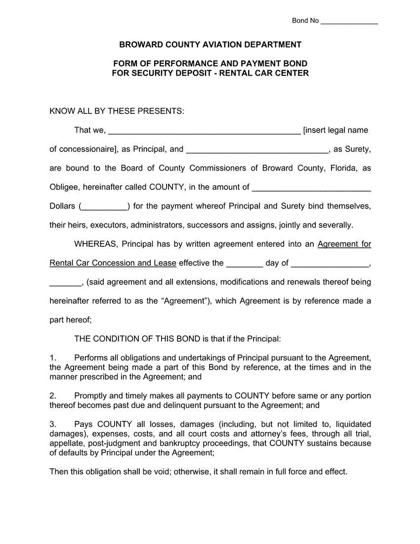 Broward County Rental Car Center Security Deposit Bond sample image