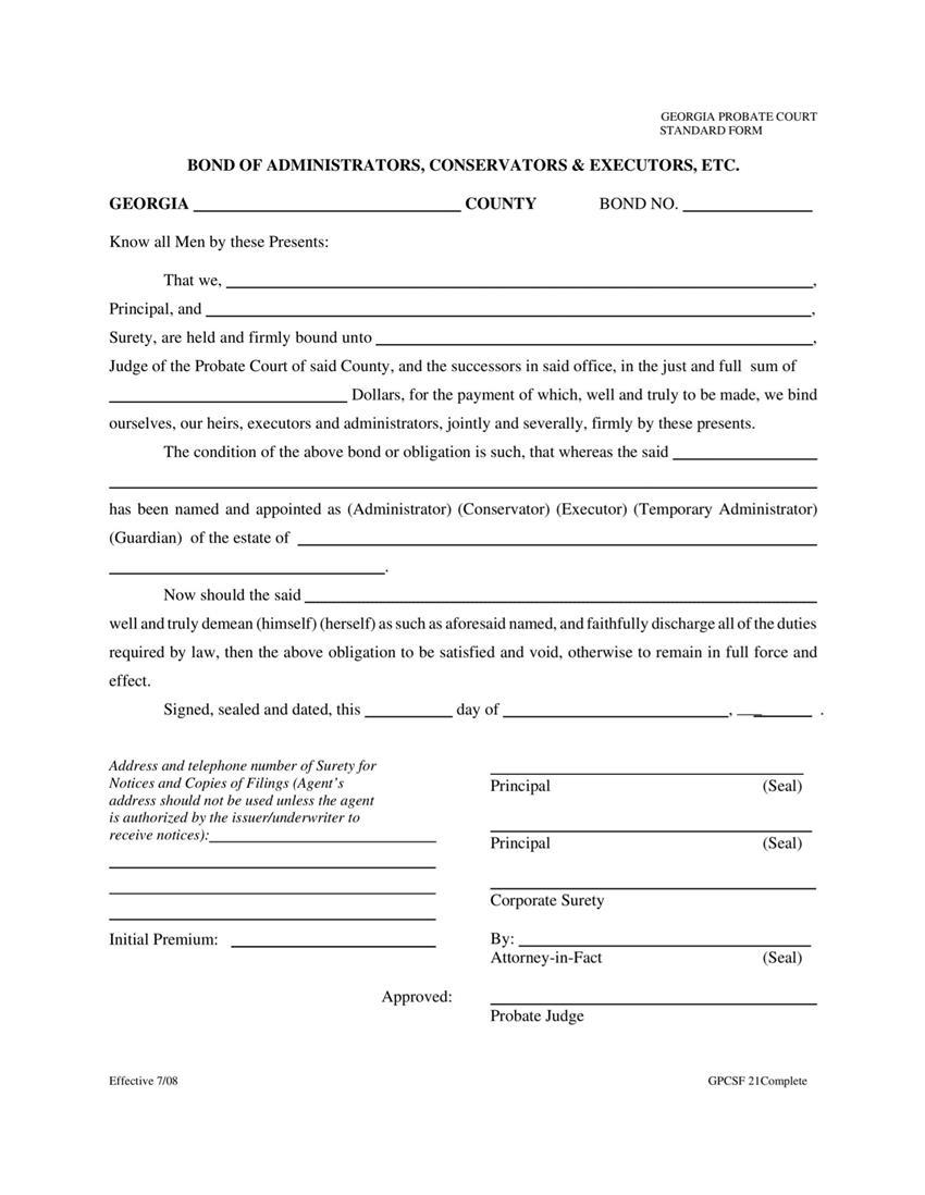 Administrator $1 to $25,000 Bond sample image