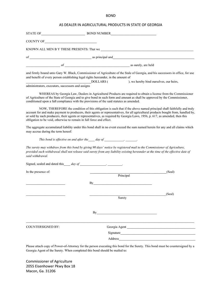 Agricultural Dealer $1 to $25,000 Bond sample image
