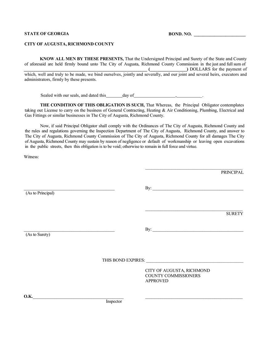Augusta or Richmond Code Compliance  Bond sample image