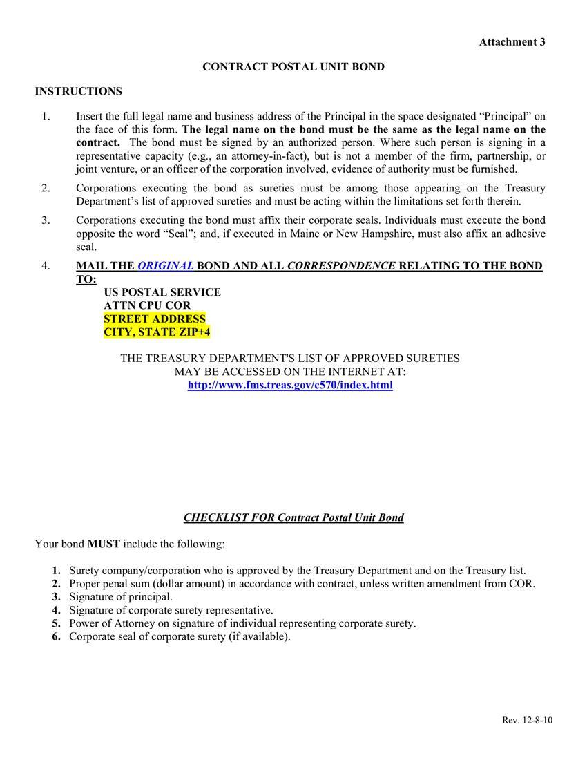 Contract Postal Unit $1 to $50,000 Bond sample image