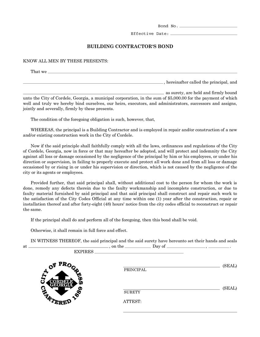 Cordele Building Contractor License  Bond sample image