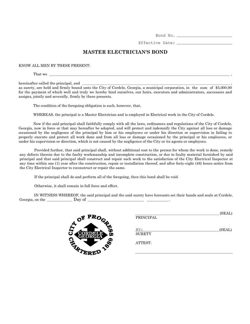 Cordele Master Electrician's License  Bond sample image