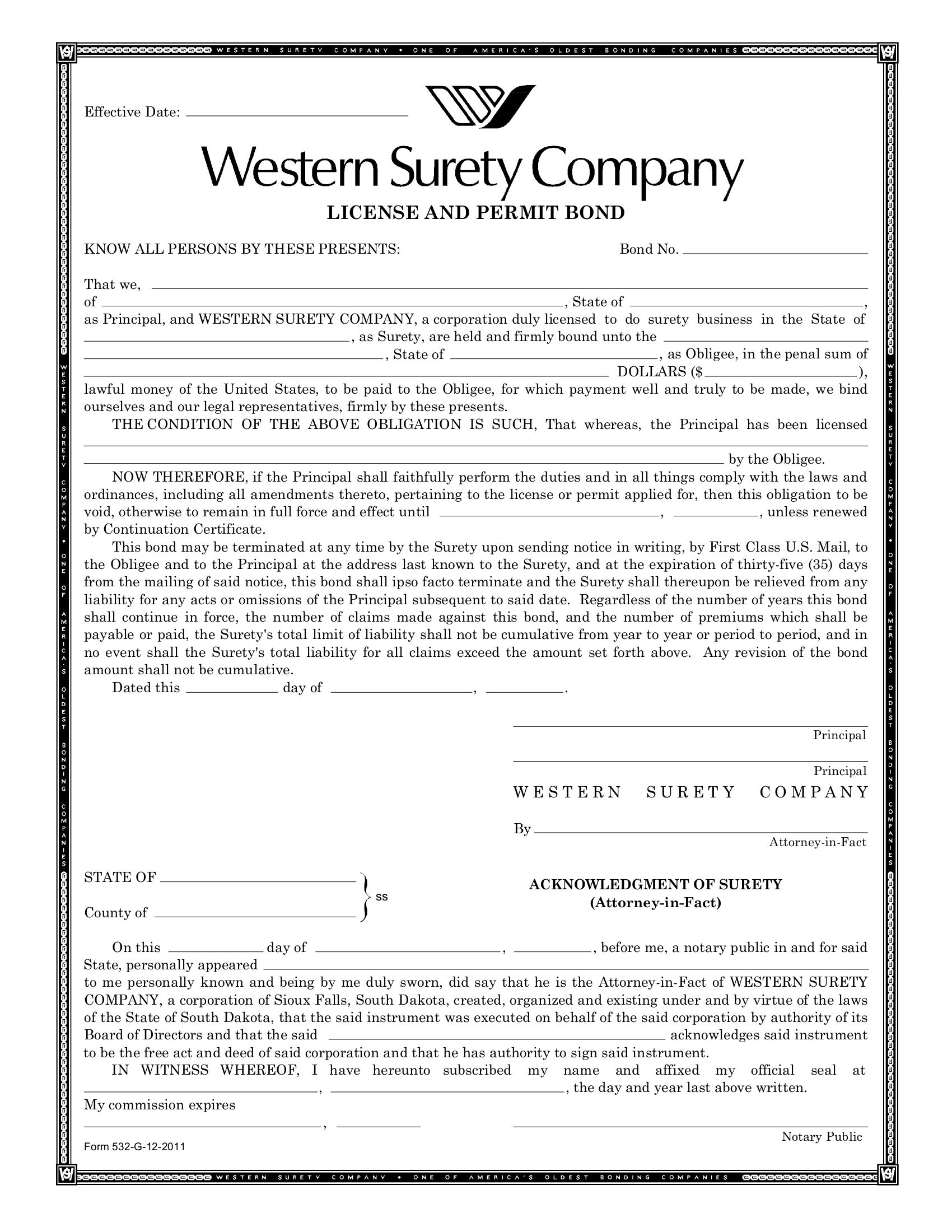 Boise Private Patrol and Security Alarm Bond sample image