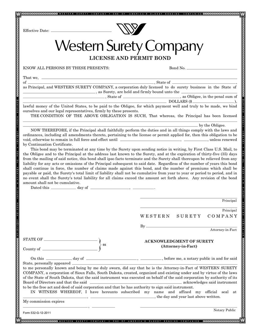 Cary License and Permit Bond sample image