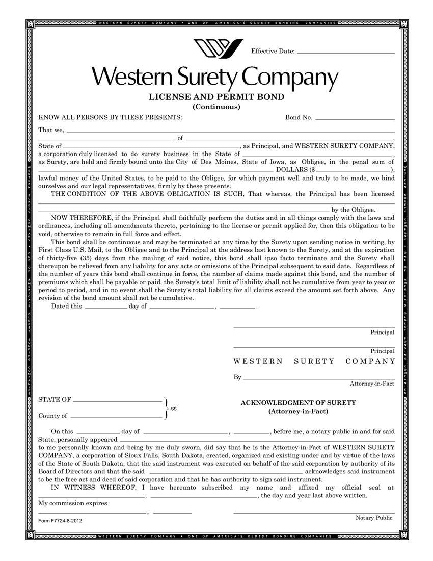 Des Moines License and Permit Bond sample image