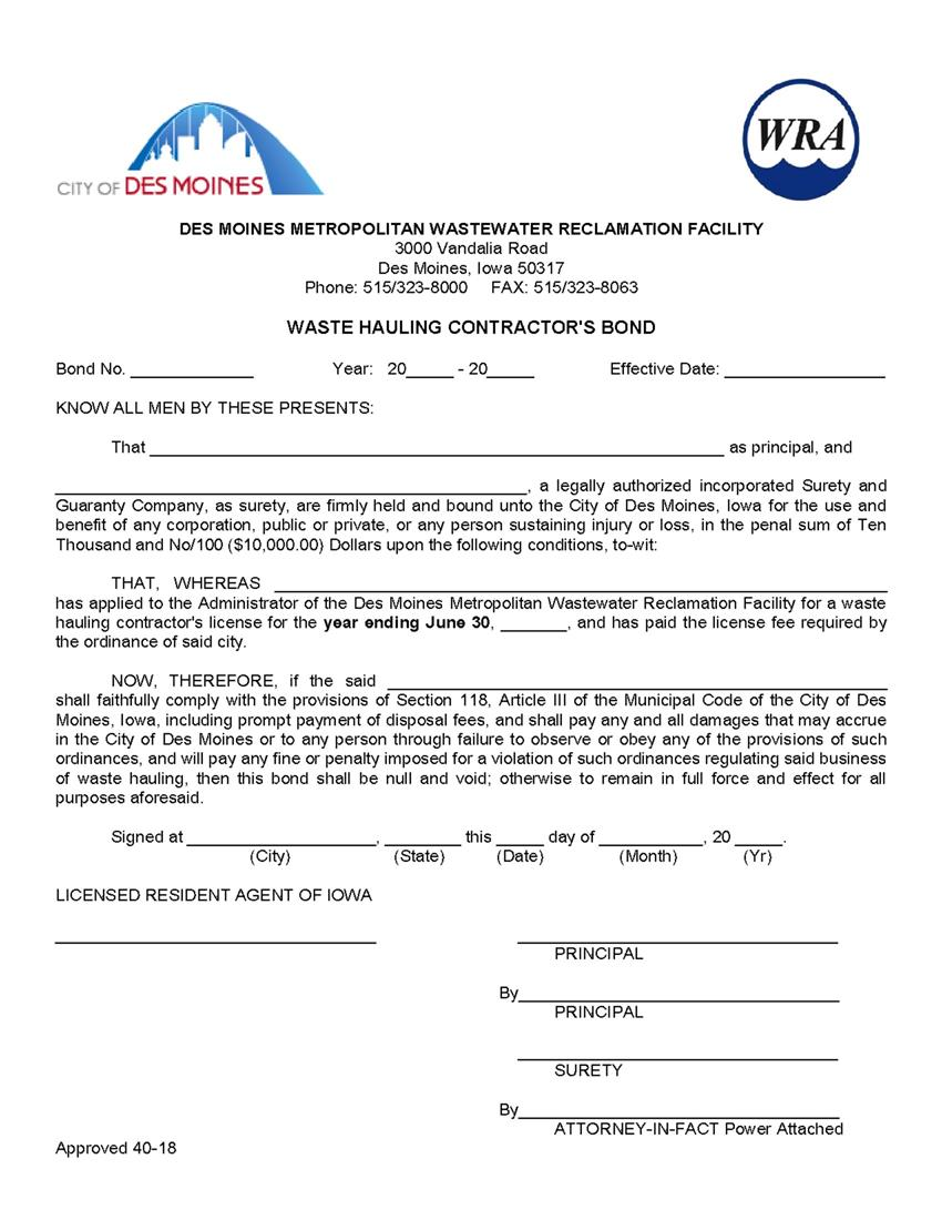 Des Moines Waste Hauling Contractor Bond sample image