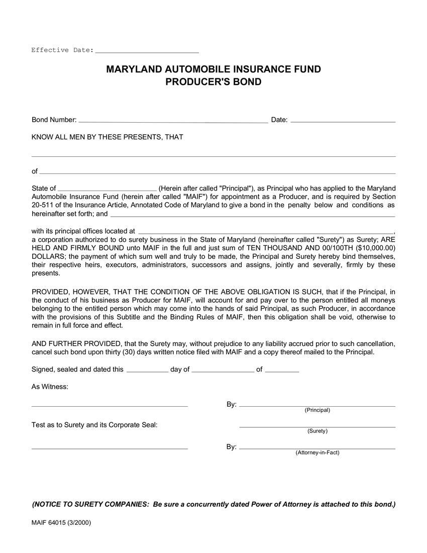 Automobile Insurance Fund Producer Bond sample image