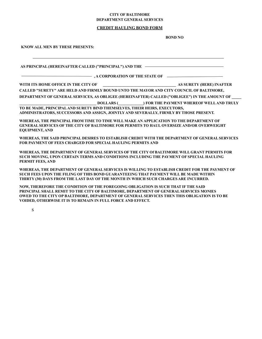 Baltimore Credit Hauling $1 to $10,000 Bond sample image