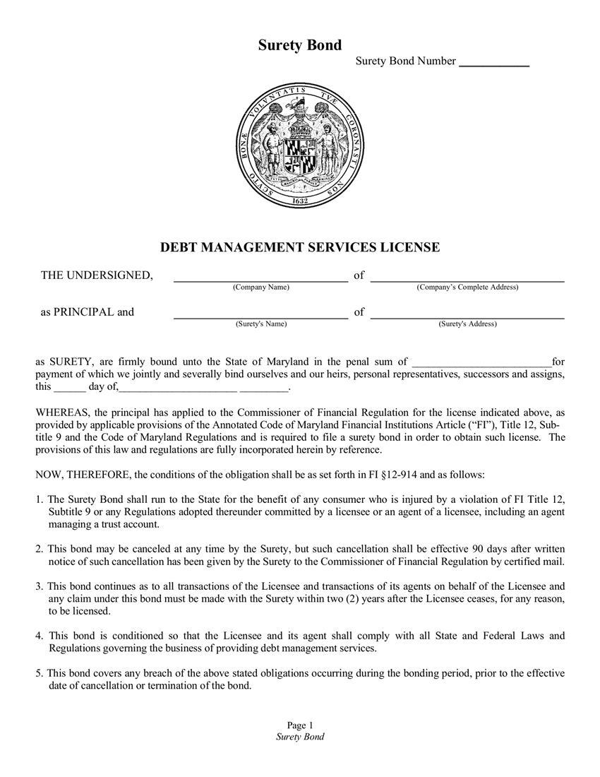 Debt Management Services License $10,000 to $25,000 Bond sample image