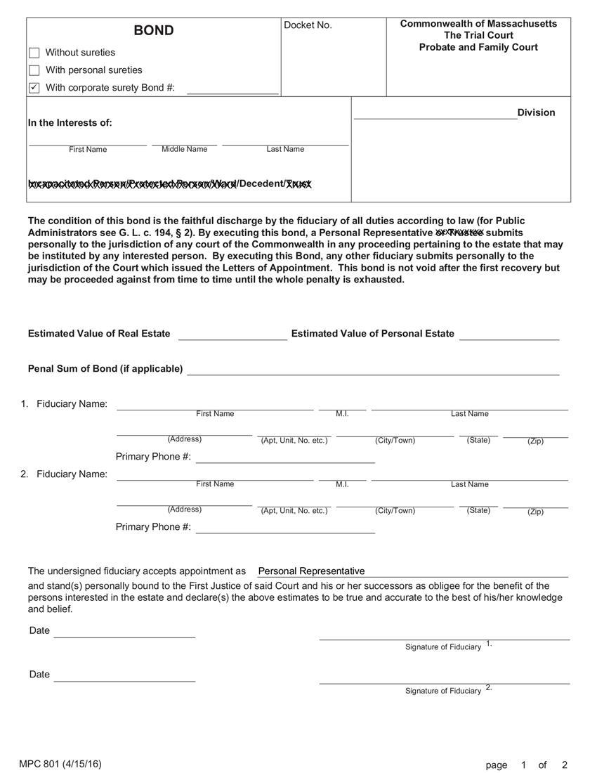 Administrator Executor Personal Representative For Deceased $25,001 to $250,000 Bond sample image