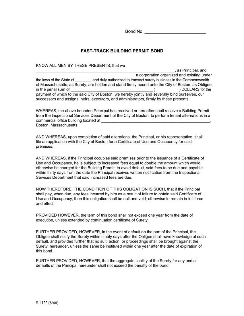 Boston Fast-Track Building Permit Bond sample image