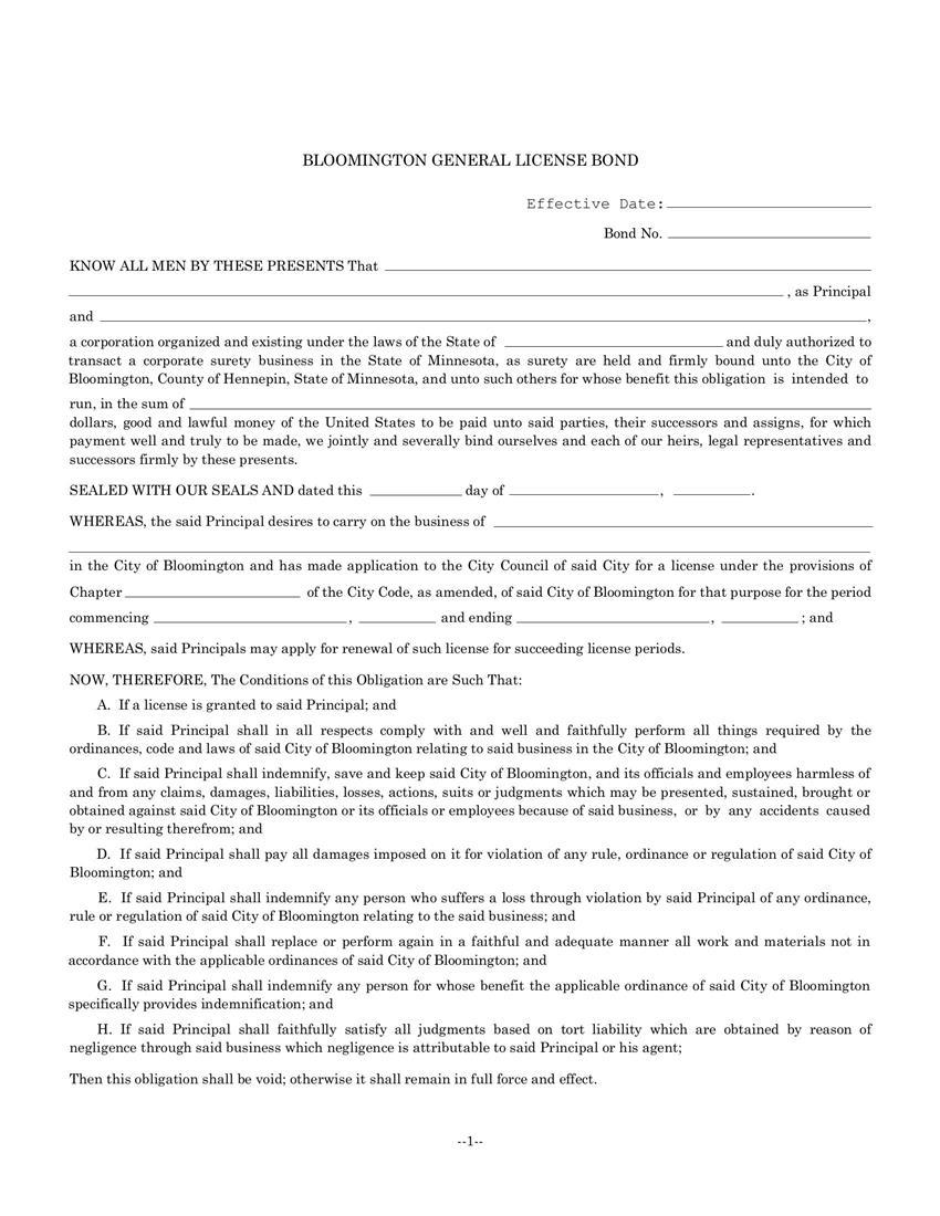 Bloomington General License Bond sample image