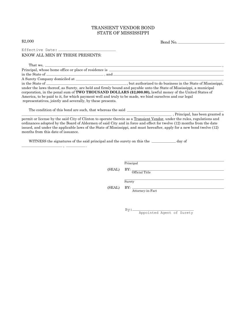 Clinton Transient Vendor Bond sample image