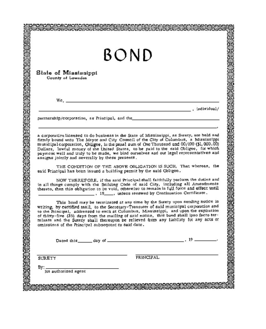 Columbus Building Permit Bond sample image