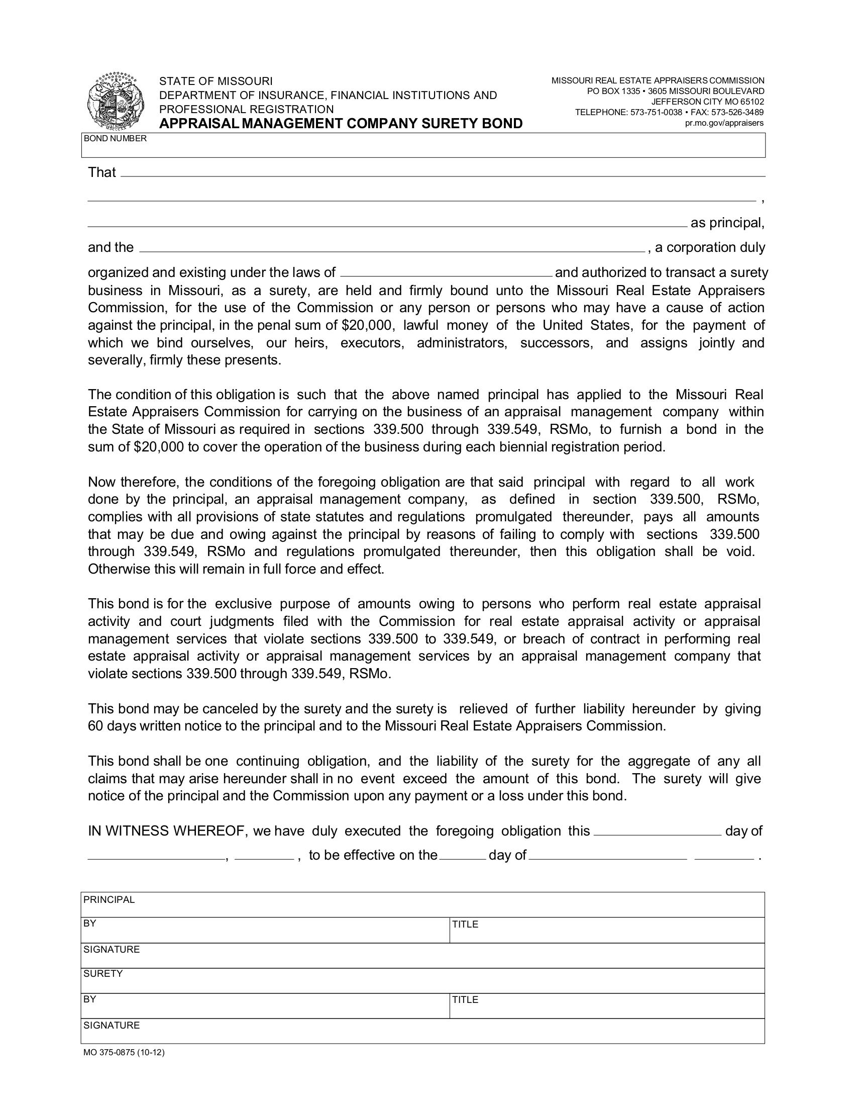 Appraisal Management Company Bond sample image