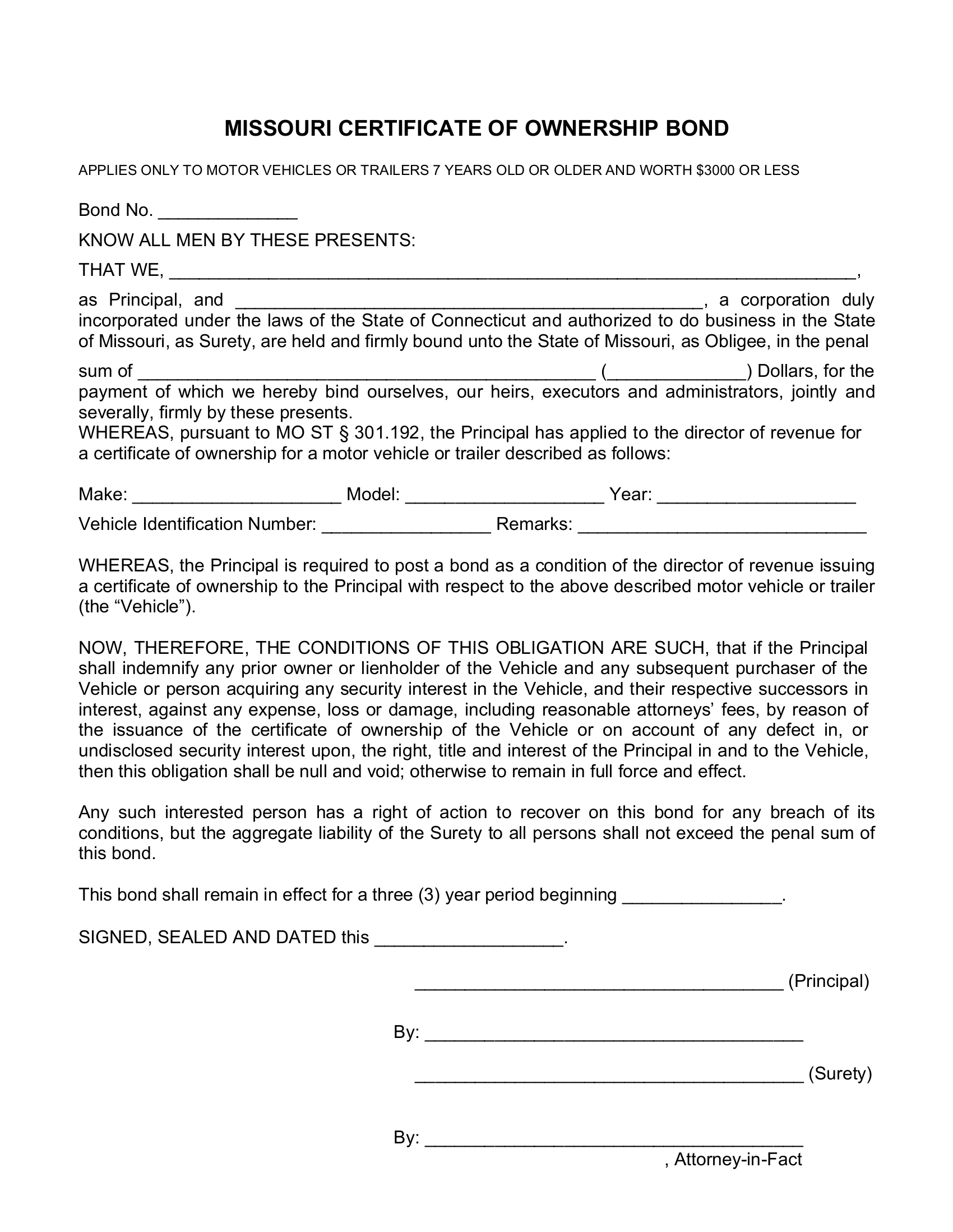 Certificate of Ownership Title Bond sample image