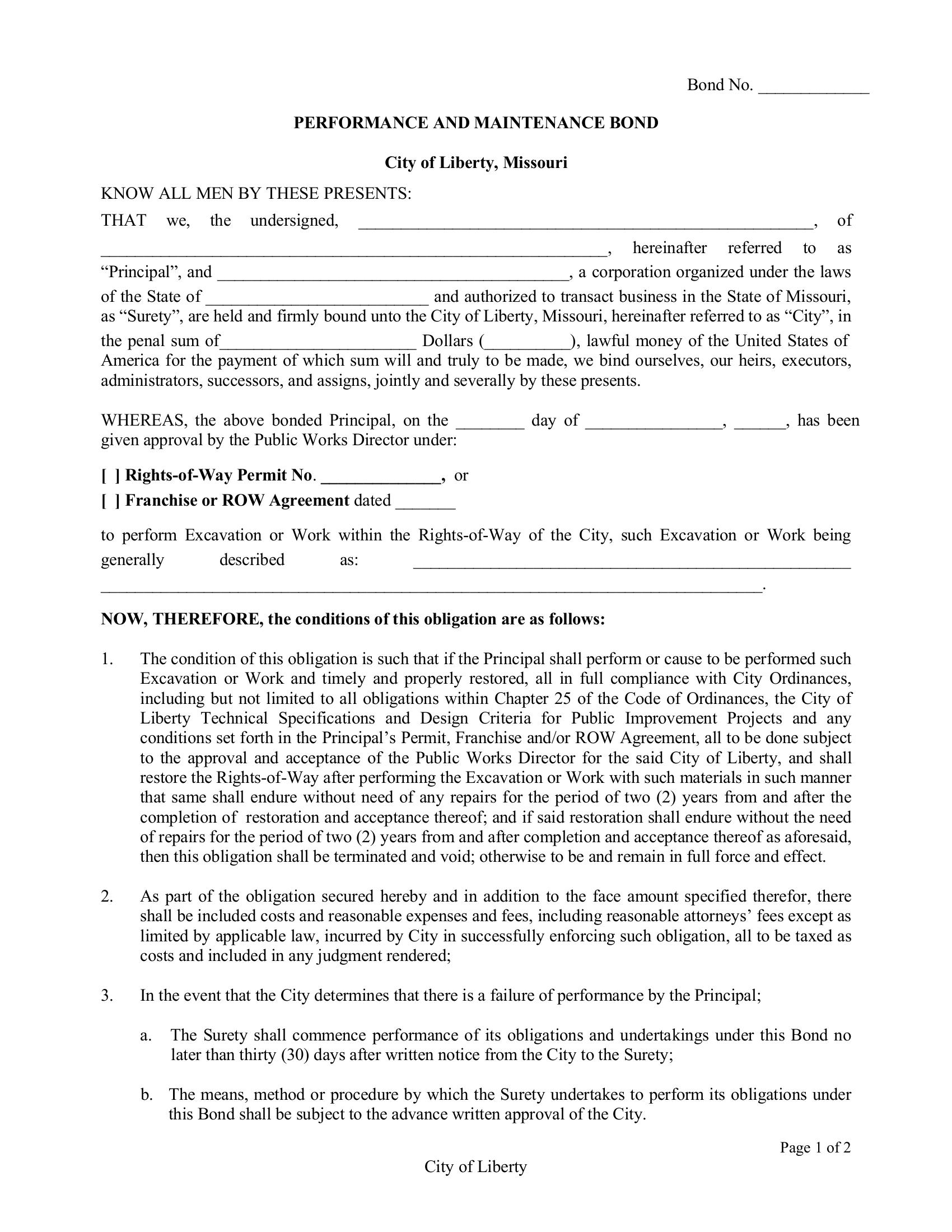 Liberty Right of Way Single Permit Bond sample image