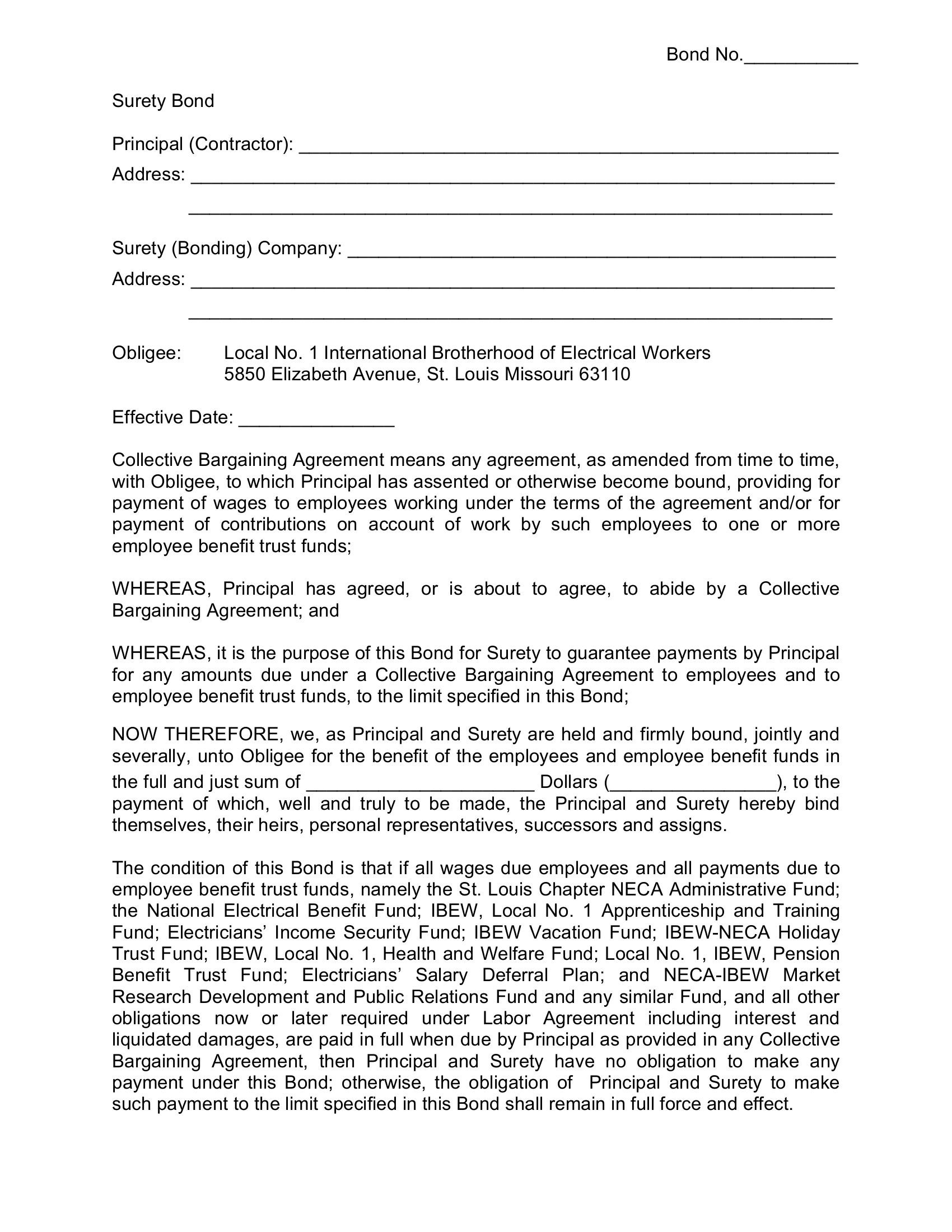 Union Wage and Welfare IBEW Local No. 1 Bond sample image