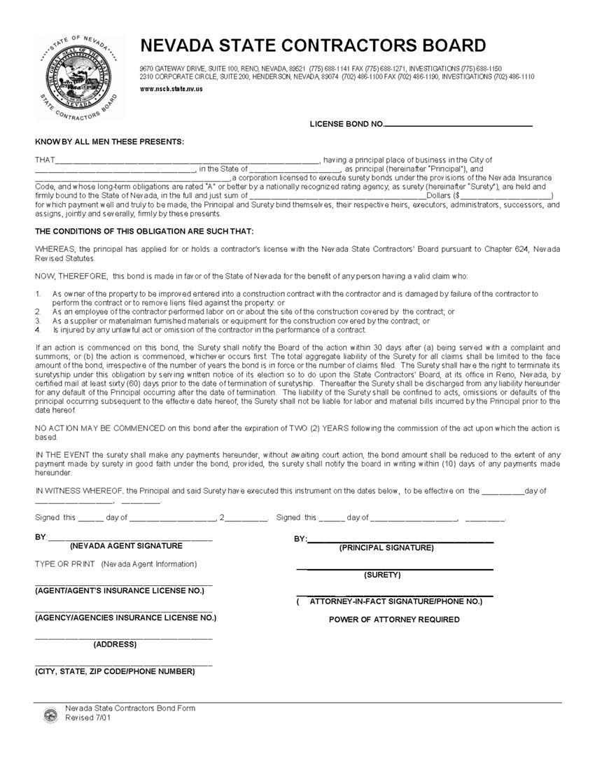 Contractor License Bond sample image