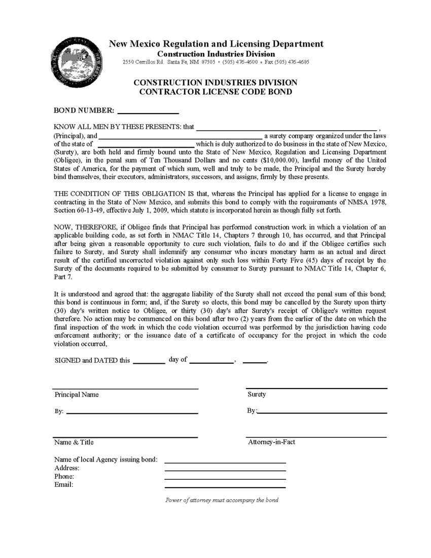 Contractors License Code Bond sample image