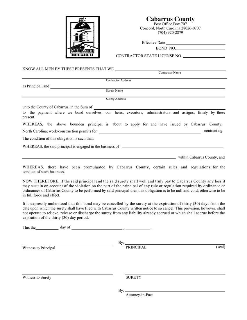 Cabarrus County License Permit Bond sample image