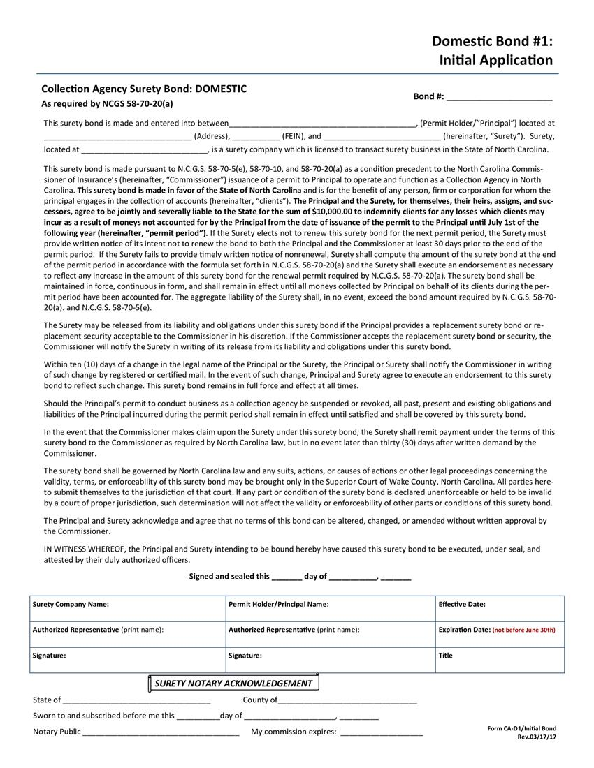 Collection Agency Domestic Initial Form 1 Bond sample image