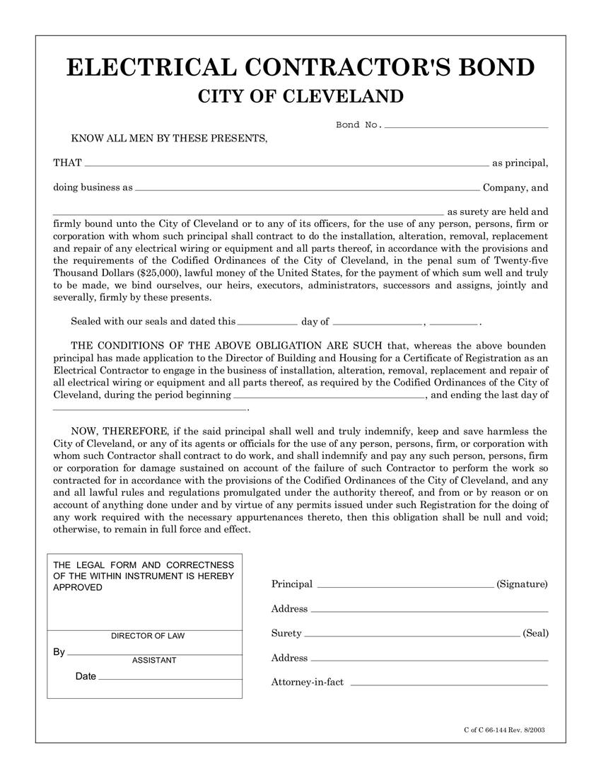 Cleveland Electrical Contractor Bond sample image