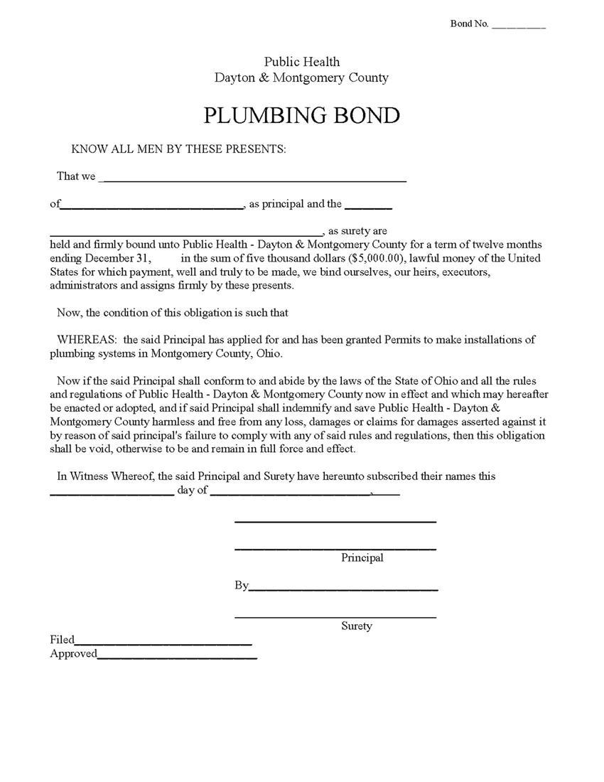Dayton and Montgomery County Plumbing Bond sample image