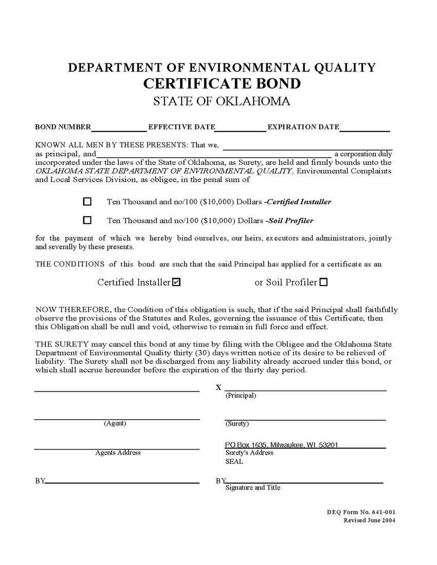 DEQ Certified Installer Certificate Bond sample image