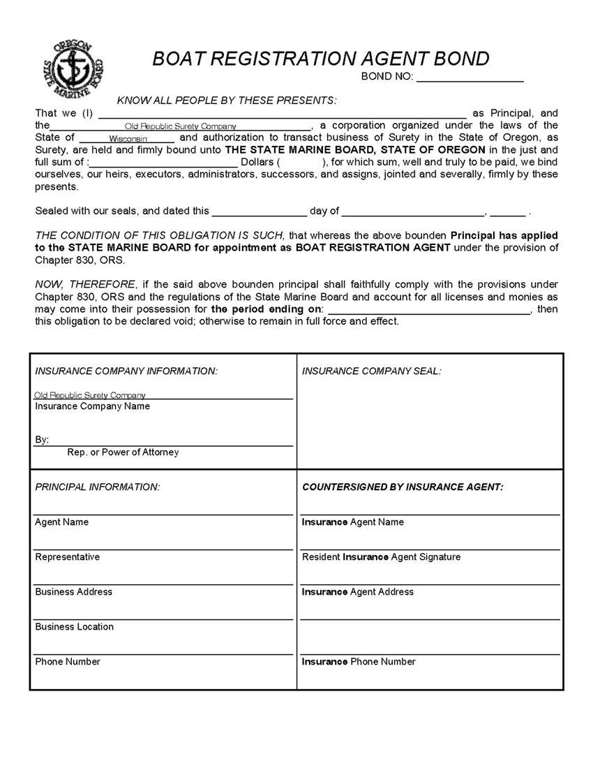 Boat Registration Agent Bond sample image