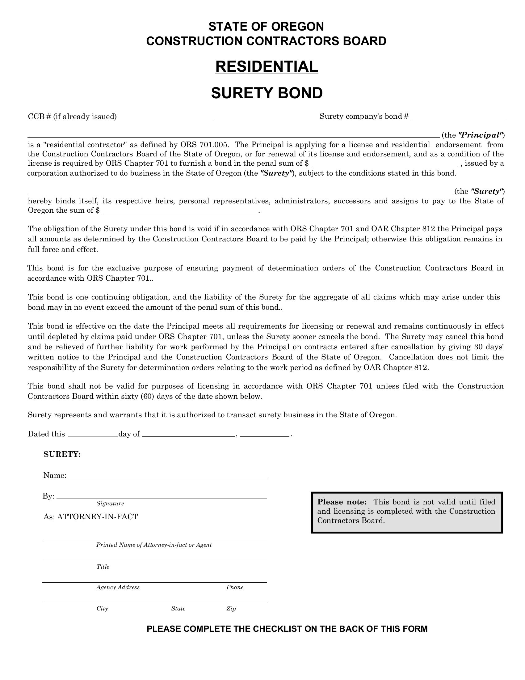 Contractors License Residential Bond sample image