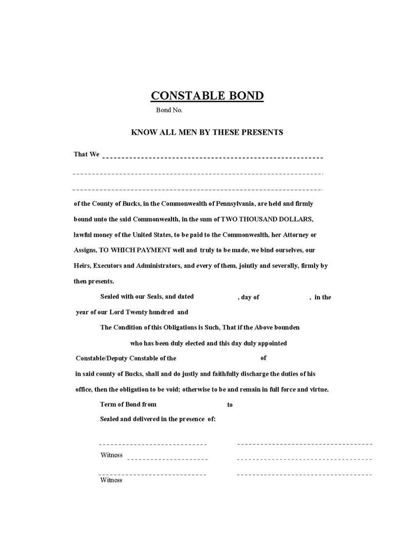 Bucks County Constable Bond sample image