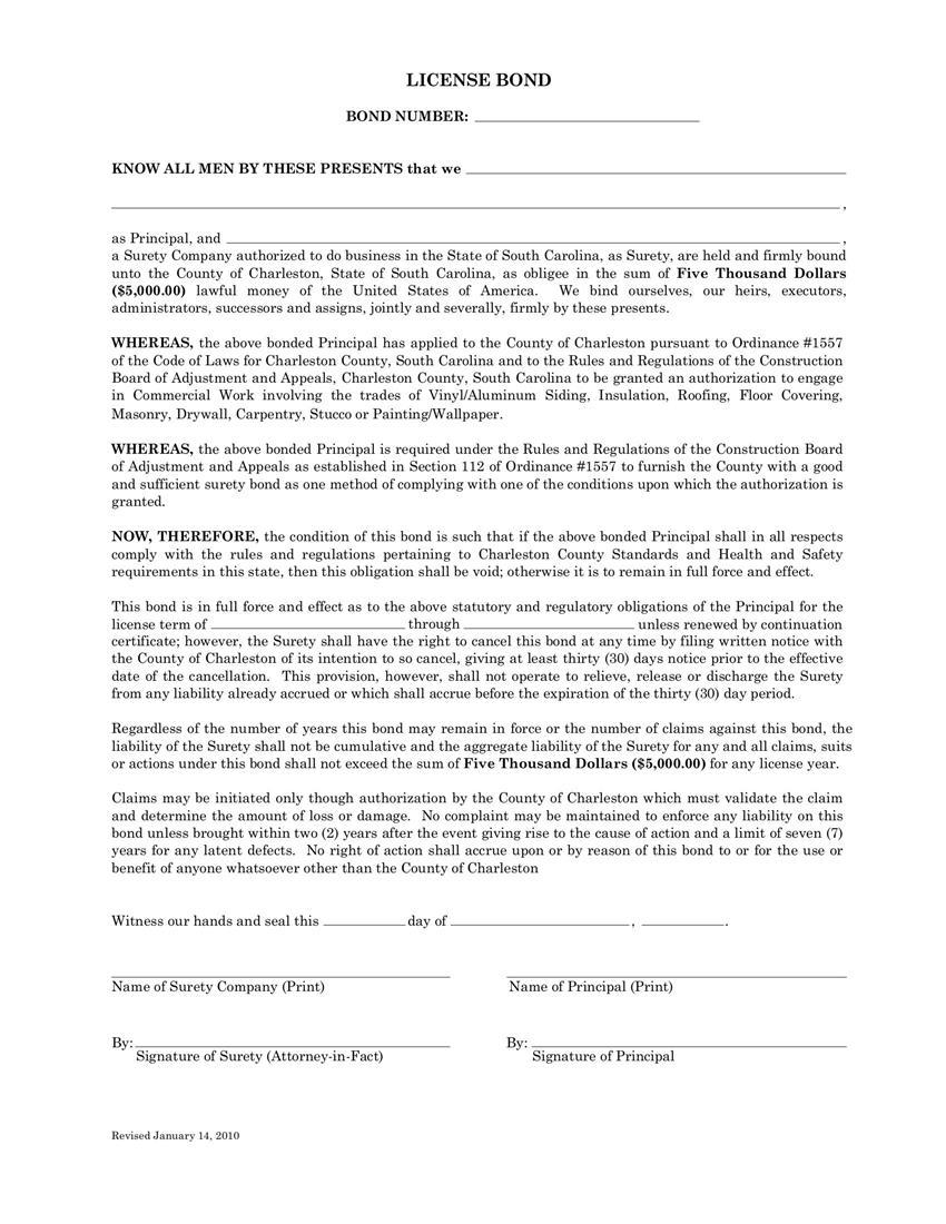 Charleston County License Bond sample image