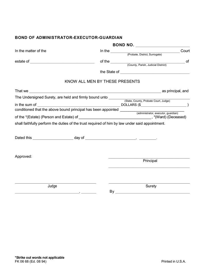 Administrator $25,001 to $250,000 Bond sample image
