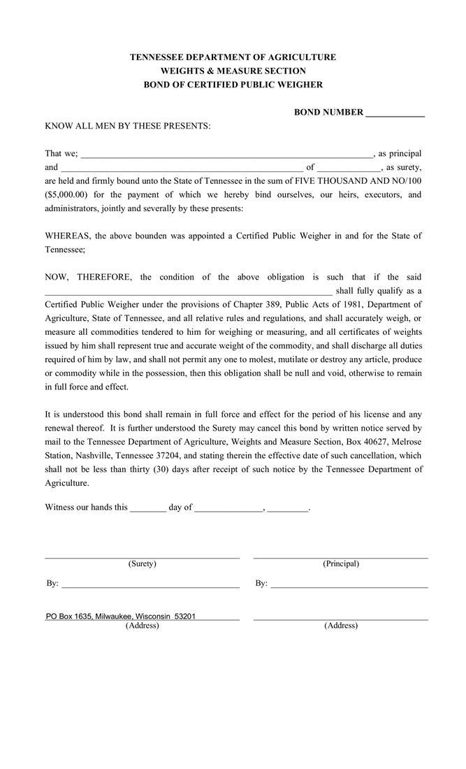 Certified Public Weigher Bond sample image