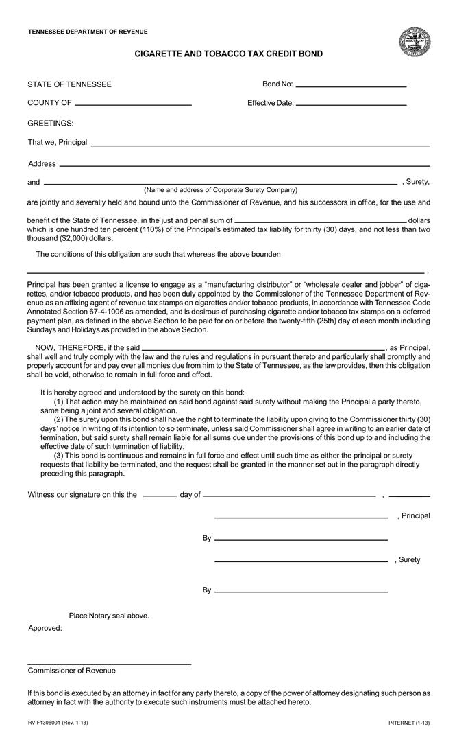 Cigarette and Tobacco Tax Credit $50,001 or Greater Bond sample image