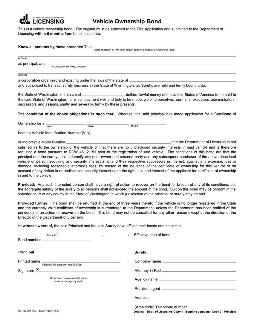 Certificate of Title Bond sample image